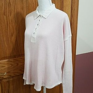 EUC We The Free Waffle Henley Ombre Faded Pink M